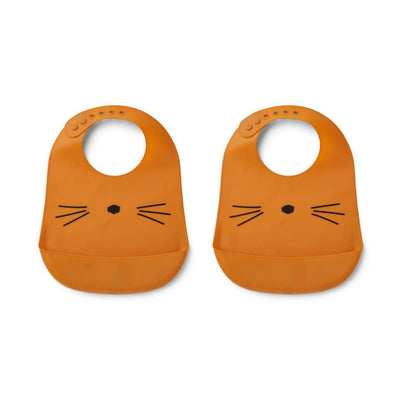 LIEWOOD - Set of 2 silicon bibs with catch-all pocket at the bottom - Mustard cat