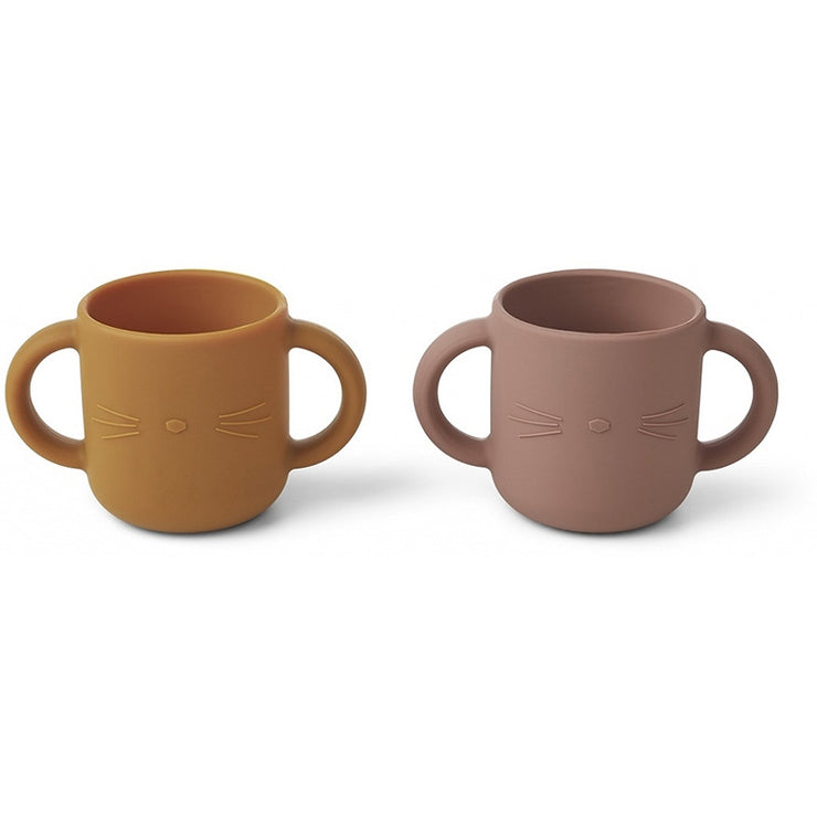 LIEWOOD - Set of two silicon cups with handles 100% BPA free silicon - Pink and orange