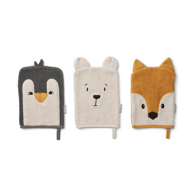 LIEWOOD - Set of 3 washcloths in organic cotton - Arctic animals