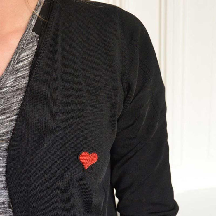 Embroidered brooch - Small red heart