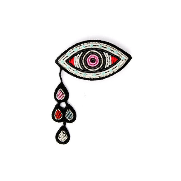 MACON & LESQUOY - Hand embroidered brooch - Eye and tear