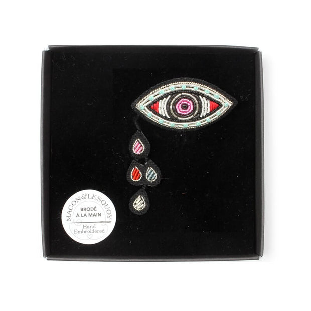 MACON & LESQUOY - Hand embroidered brooch - Eye and tear - Box