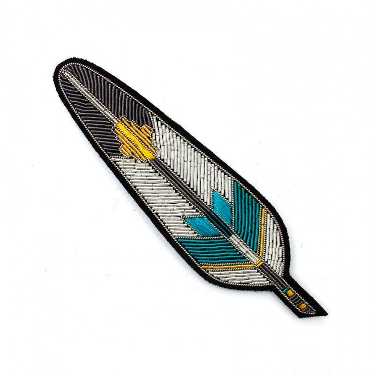 MACON & LESQUOY - Hand embroidered brooch - Colourful feather
