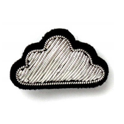 Embroidered brooch - Little silver cloud