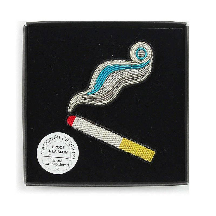 MACON & LESQUOY - Hand embroidered brooch - Cigarette and smoke