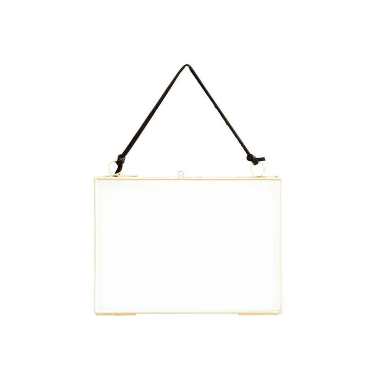 Large hanging photo frame - Brass and leather