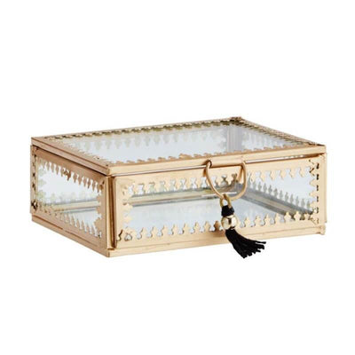 MADAM STOLTZ - Large jewellery box in golden metal and glass with bohemian style