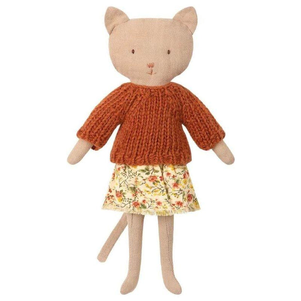 MAILEG - Kitten doll with floral skirt and knit