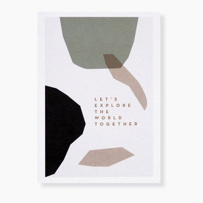 "MICHOUCAS DESIGN - Lovely folded card ""Let's explore the world together"" with envelop provided"
