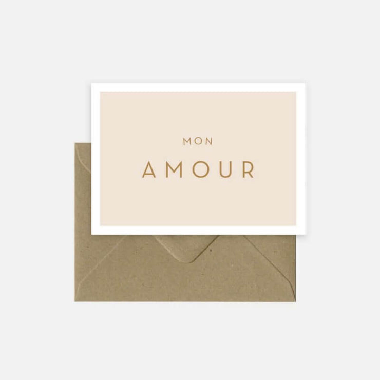 "MICHOUCAS DESIGN - Lovely folded card ""Mon Amour"" with envelop provided"