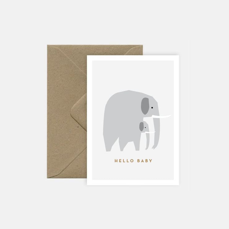 "Birth card - ""Hello baby"" elephant"