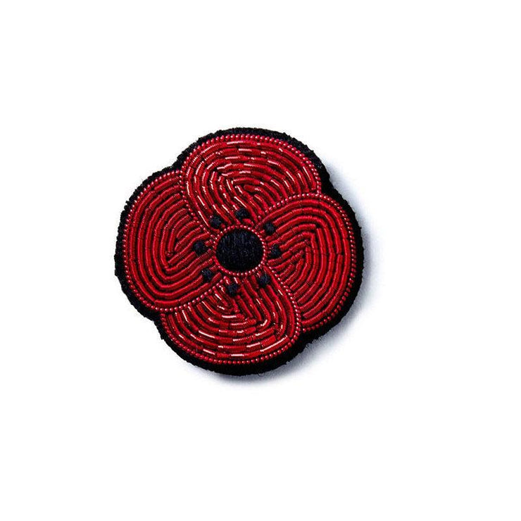 MACON & LESQUOY - Hand embroidered brooch - Small poppy