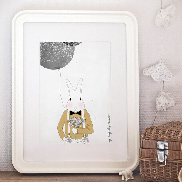 MY LOVELY THING - Camille the rabbit poster - Poetic illustration