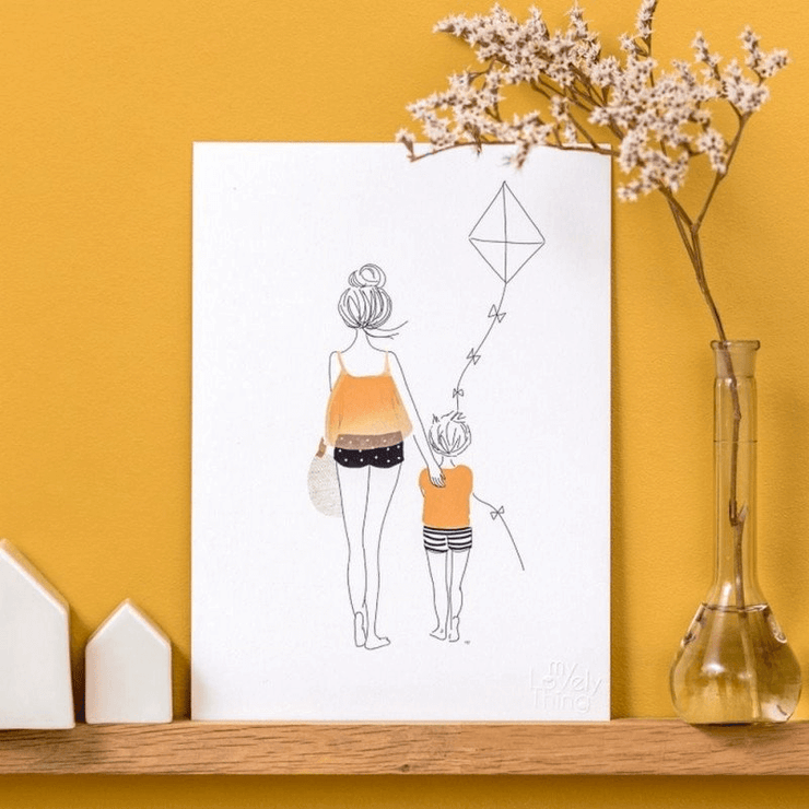 MY LOVELY THING - Stroll and kite poster - Poetic illustration