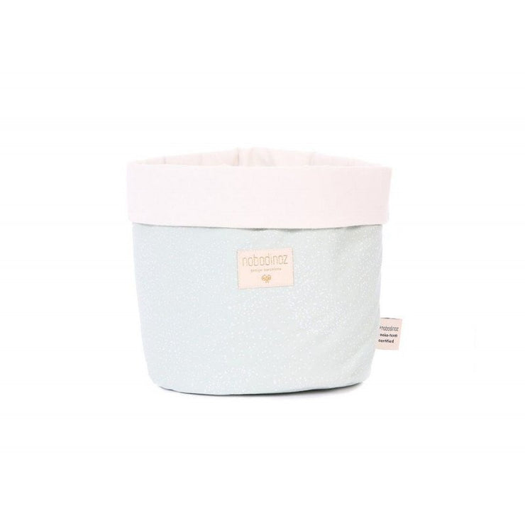 NOBODINOZ - Panda storage basket - White Bubble / Aqua