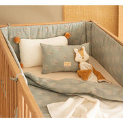 NOBODINOZ - Nest cot bumper - White Gatsby / Antique Green - Scene