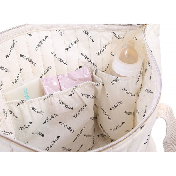 NOBODINOZ - Paris diaper bag - White bubble / Aqua - Inside