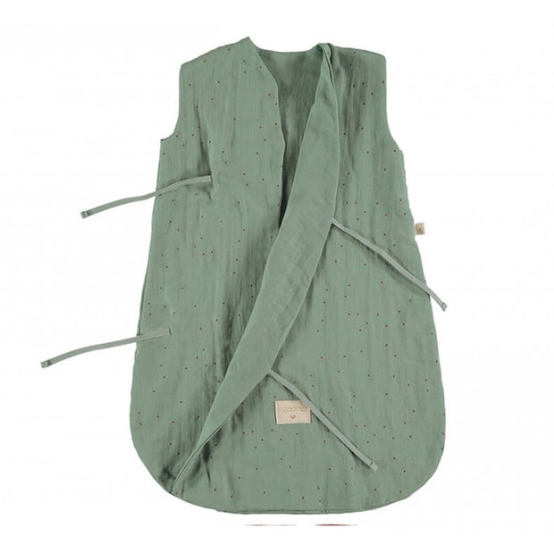 NOBODINOZ - Dreamy sleeping bag - Toffee Sweet Dots / Eden Green - Organic cotton - Open