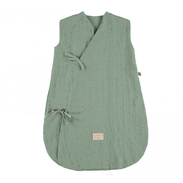 NOBODINOZ - Dreamy sleeping bag - Toffee Sweet Dots / Eden Green - Organic cotton