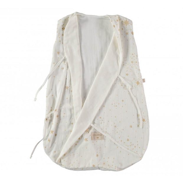 NOBODINOZ - Dreamy sleeping bag - Gold Stella / White - Organic cotton - Open