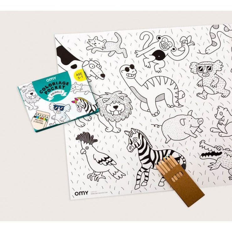 OMY DESIGN & PLAY - Pocket colouring sheet - Animals - Scene