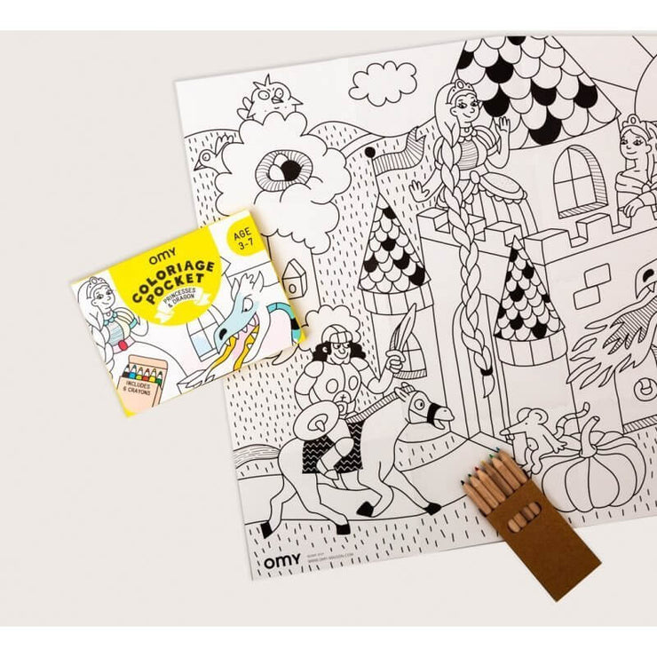 OMY DESIGN & PLAY - Pocket colouring sheet - Princesses & dragons scene