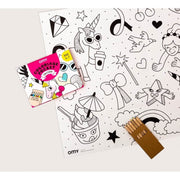 OMY DESIGN & PLAY - Pocket colouring sheet - Unicorns - Scene