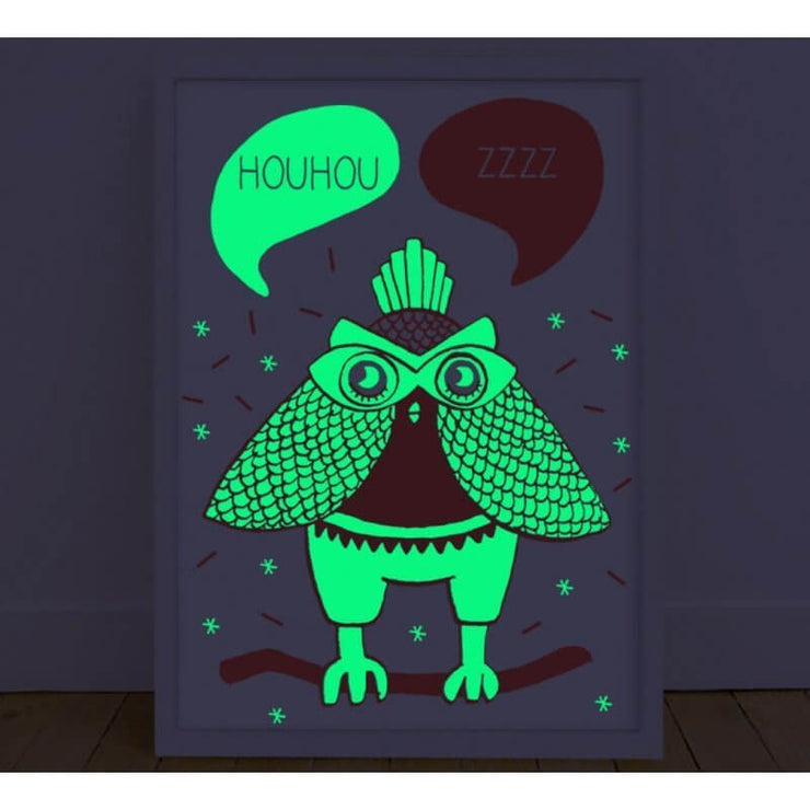 Glow In The Dark Wall Poster With Owl Designed And Made In France French Blossom
