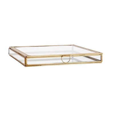 MADAM STOLTZ - Large and flat jewellery box in glas in golden metal