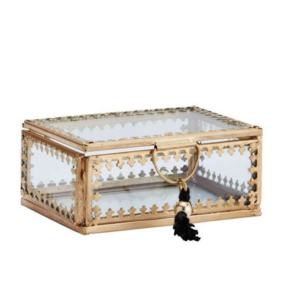 MADAM STOLTZ - Small jewellery box in golden metal and glass with bohemian style