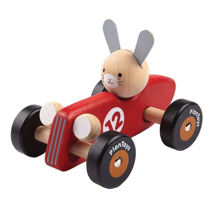 PLAN TOYS - Red rabbit racing car - Wooden toy