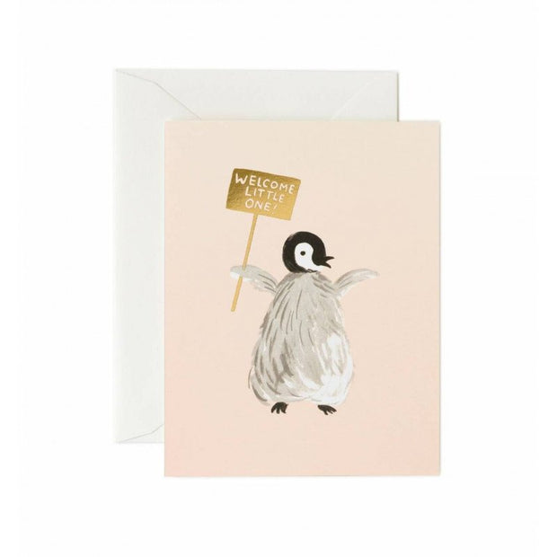 RIFLE PAPER CO - Birth card - Welcome little one Penguin