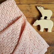 ROSE IN APRIL - Crochet knitted baby blanket - Light pink - Baby accessories
