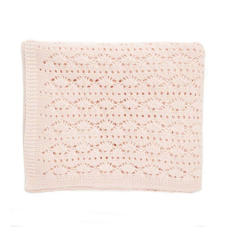 ROSE IN APRIL - Crochet knitted baby blanket - Light pink