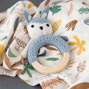 Light blue rabbit baby rattle