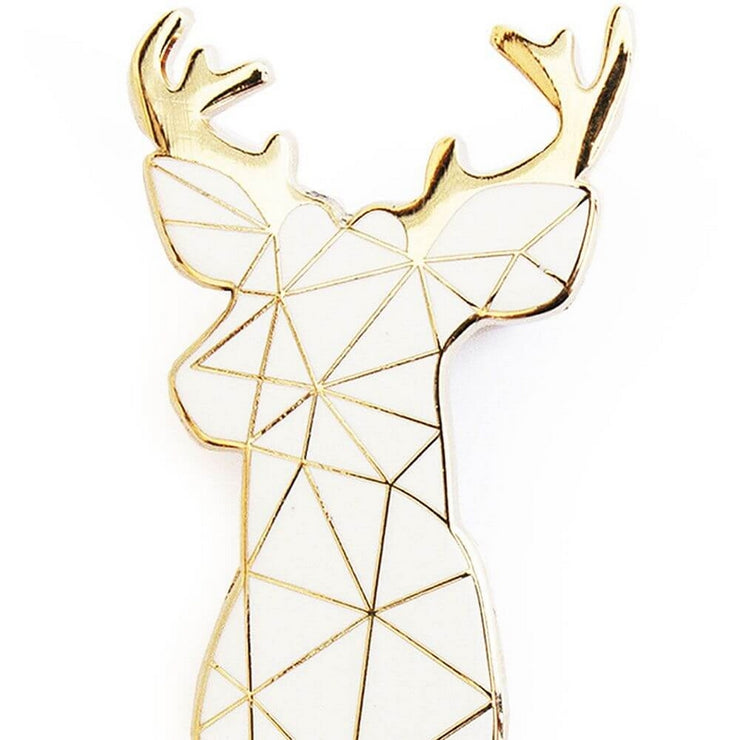 SKETCH INC - White stag metal brooch - Details