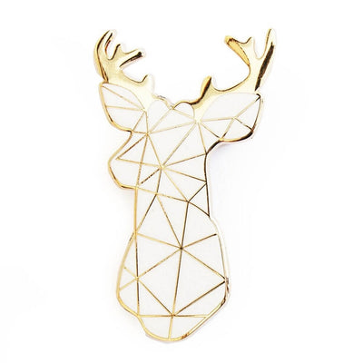 SKETCH INC - White stag metal brooch