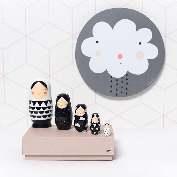 SKETCH INC - Black and white nesting dolls - Kids decoration
