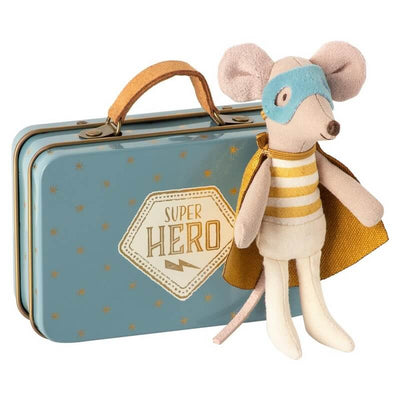 MAILEG - Super hero mouse doll in a suitcase