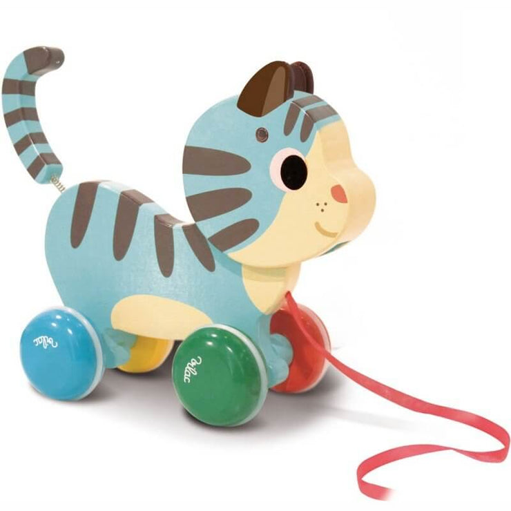 VILAC - Pull along toy - Marcel the cat - Made in France