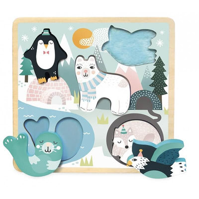 VILAC - Wooden puzzle Polar Animals - Made in France