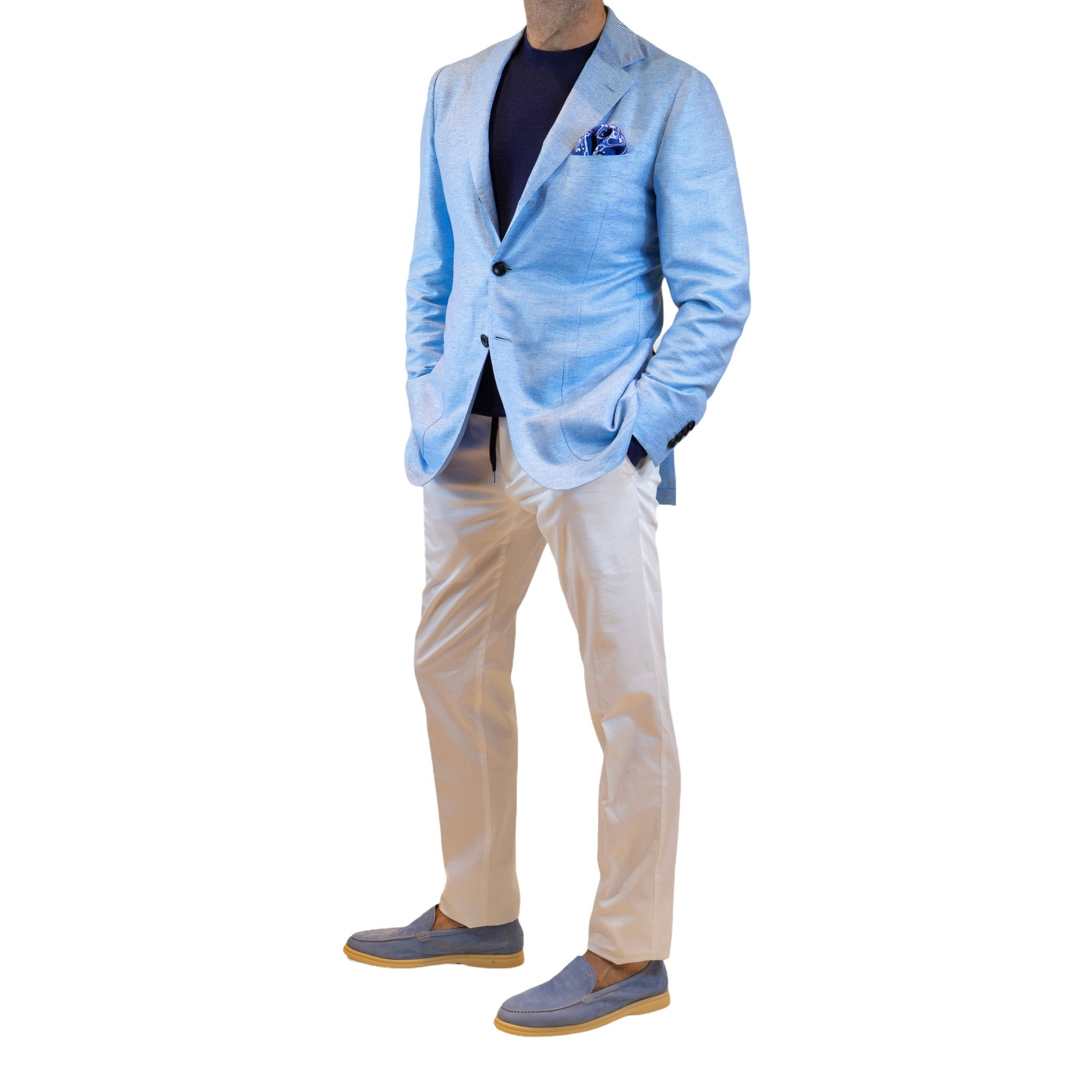 Kiton Light jacket in cotton and linen shirt fabric