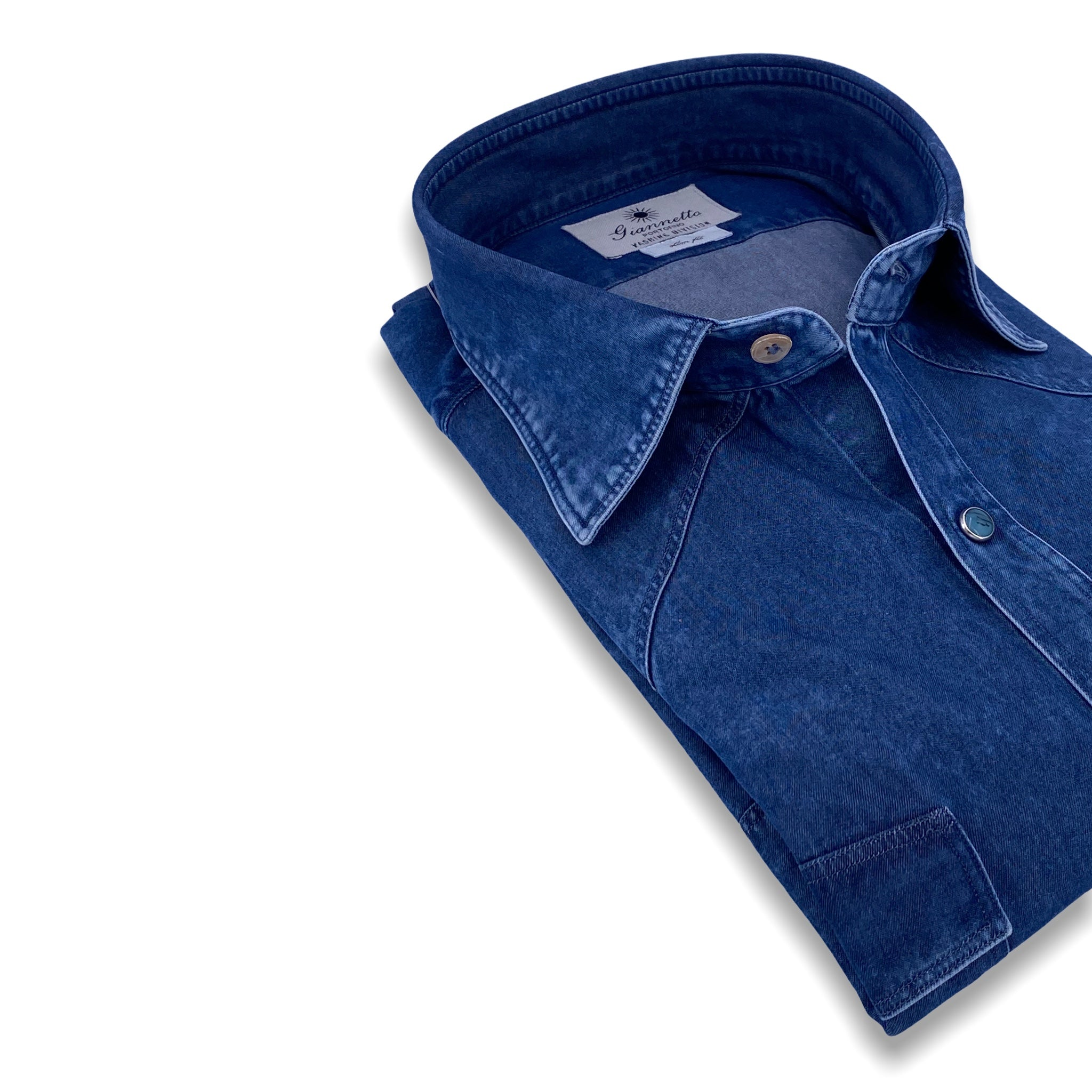 Giannetto Portofino washed Western cotton denim shirt SS21 collection