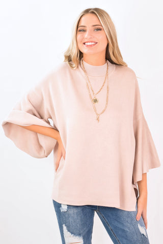 Mock Neck Sweater Pink