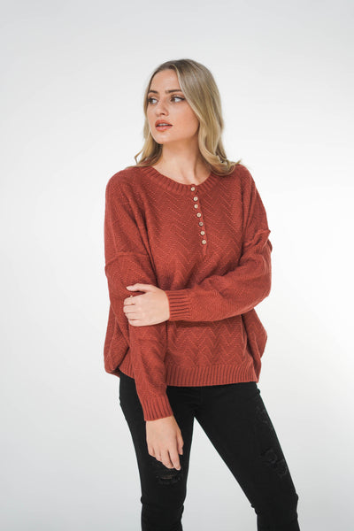 The Hudson 7 Button Henley Sweater Brick