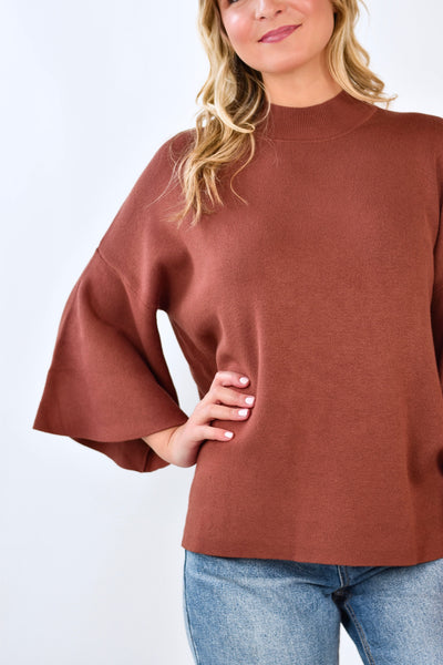 Mock Neck Sweater Rust