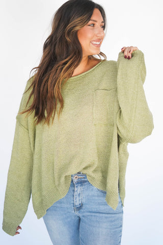 I'm Five Minutes Away Relaxed Pocket Sweater Grass