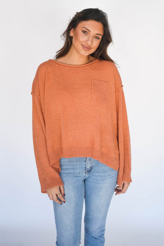I'm Five Minutes Away Relaxed Pocket Sweater Cantaloupe