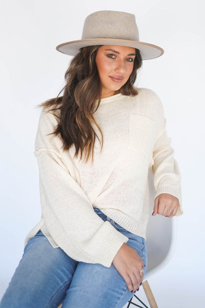 I'm Five Minutes Away Relaxed Pocket Sweater Ivory