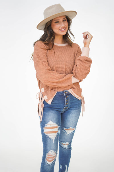 All Laced Up Waffle Knit Top